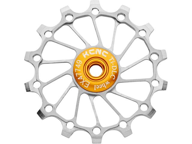 KCNC Jockey Wheel Titan 14 Teeth Narrow Wide Full Ceramic Bearing, Plateado